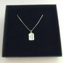 Engraved Memorial Necklace for Men, Silver Chain